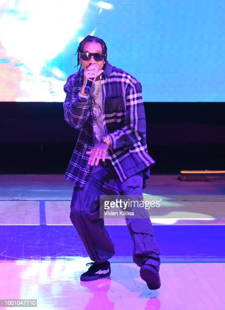 Tyga performs at Monster Energy Outbreak Presents $50K Charity Challenge Celebrity Basketball Game at UCLA's Pauley Pavilion on July 17 2018 in...