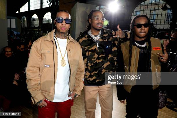 Tyga, Takeoff and Quavo attend the Heron Preston Menswear Fall/Winter 2020-2021 show as part of Paris Fashion Week on January 16, 2020 in Paris,...