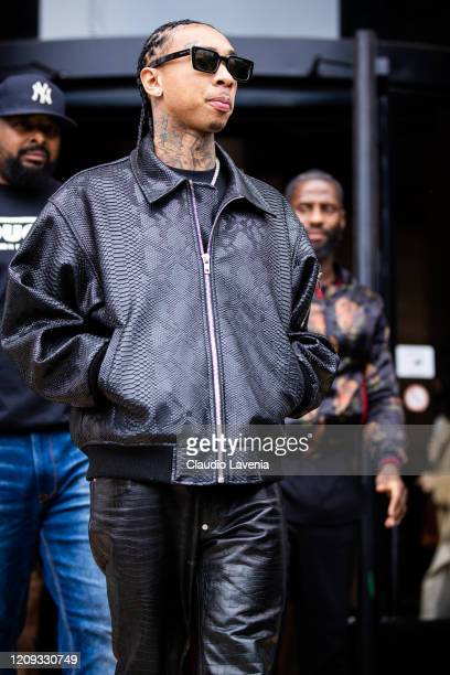 Tyga wearing a snakeskin black jacket is seen outside Mugler during Paris Fashion Week Womenswear Fall/Winter 2020/2021 Day Three on February 26 2020...