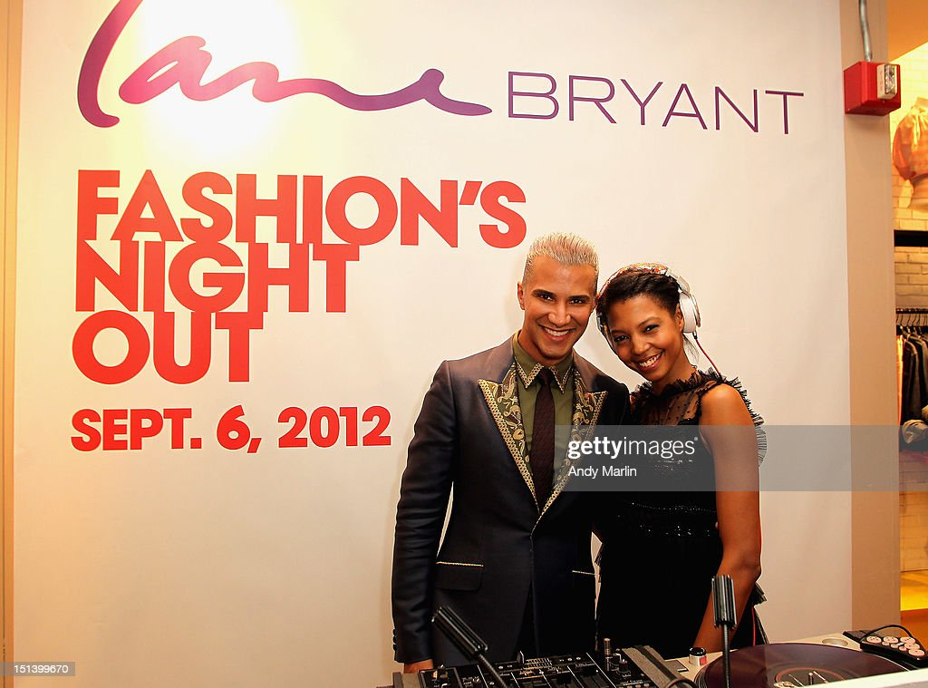 DJ Tyger Lilly and Jay Manuel (L) pose for a photo during Fashion Guru Jay Manuel Hosts Lane Bryant's Fashion Night Out on September 6, 2012 in Brooklyn, New York.