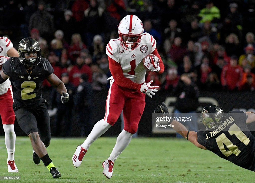 Tyjon Lindsey #1 of the Nebraska Cornhuskers jukes past Jacob Thieneman #41 of the Purdue Boilermakers after a catch during the first quarter of the game between the Purdue Boilermakers and the Nebraska Cornhuskers at Ross-Ade Stadium on October 28, 2017 in West Lafayette, Indiana.