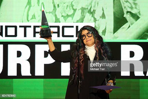 Tyka Nelson accepts the award for Favorite Soundtrack for Purple Rain on behalf of Prince onstage during the 2016 American Music Awards held at...