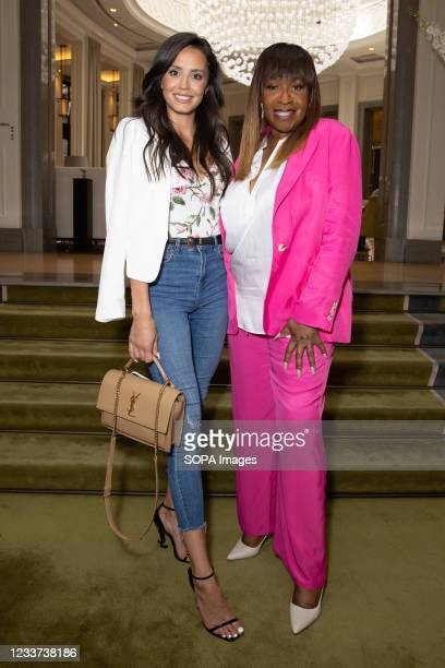 Tyla Carr and Angie Greaves attend afternoon tea at Corinthia Hotel London in aid of Breast Cancer Now hosted by Angie Greaves and Concorde Media.