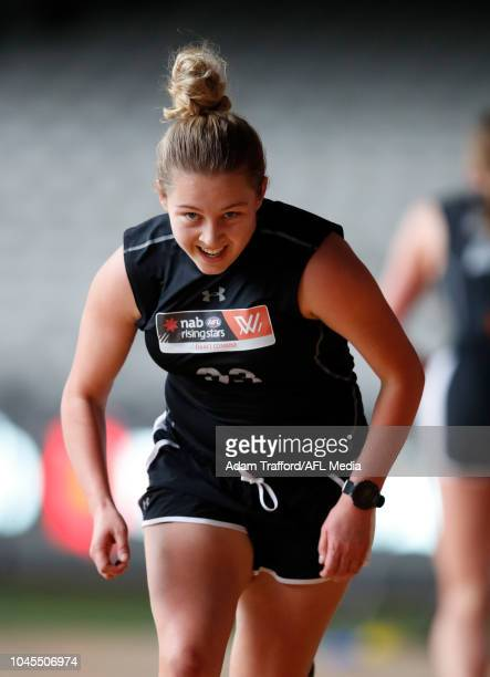 Tyla Hanks performs the yoyo test during the AFLW Draft Combine at Marvel Stadium on October 3 2018 in Melbourne Australia