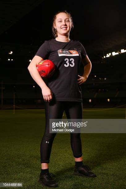 Tyla Hanks poses during the AFLW Draft Combine at Etihad Stadium on October 2 2018 in Melbourne Australia