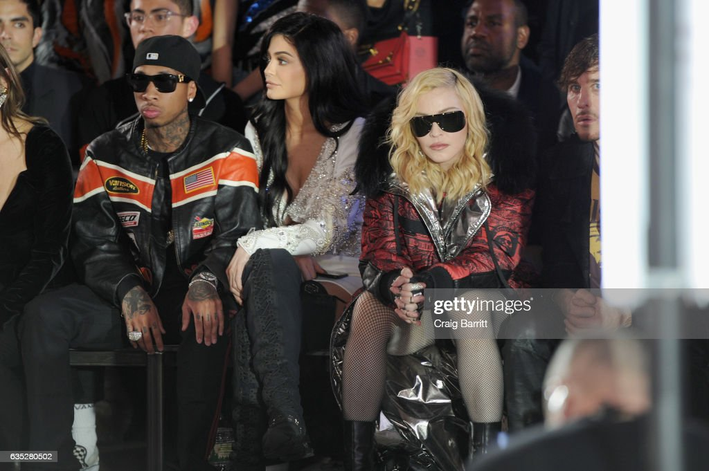 Tyla, Kylie Jenner, and Madonna attend the Front Row for the Philipp Plein Fall/Winter 2017/2018 Women's And Men's Fashion Show at The New York Public Library on February 13, 2017 in New York City.