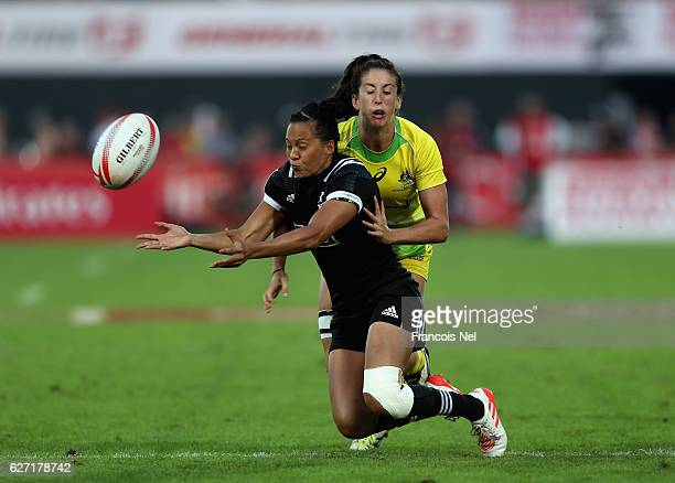 Tyla NathanWong of New Zealand is tackled by Alicia Quirk of Australia during the HSBC World Rugby Women's Sevens Series Cup Final match on December...