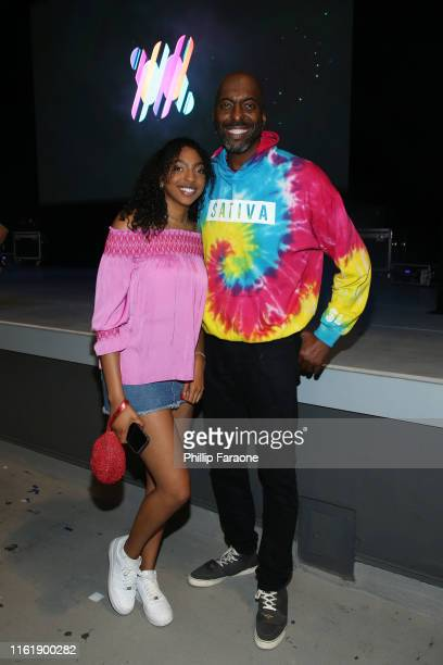 Tyla Salley and John Salley attend the official launch party for WEEDMAYHEM at The Greek Theatre on July 13 2019 in Los Angeles California