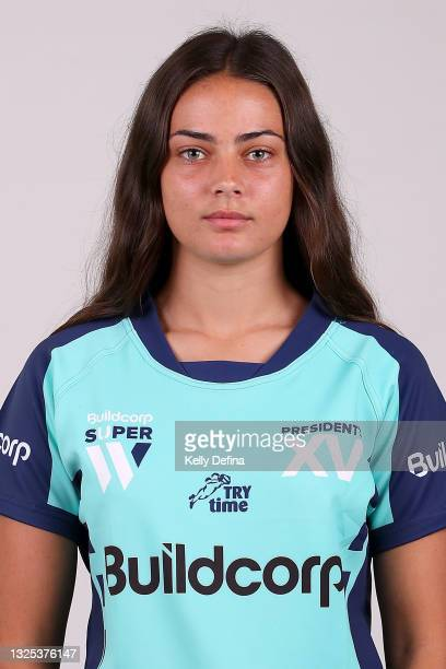 Tylah Vallance of the President's XV poses during the President's XV Super W Headshots Session at Pacific Bay Hotel on June 25, 2021 in Coffs...