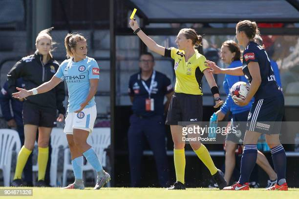 TylaJay Vlajnic of Melbourne City is shown a yellow card during the round 11 WLeague match between the Melbourne Victory and Melbourne City at Epping...