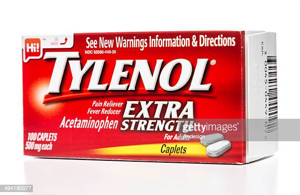 tylenol extra strength for adults box - acetaminophen stock photos and pictures