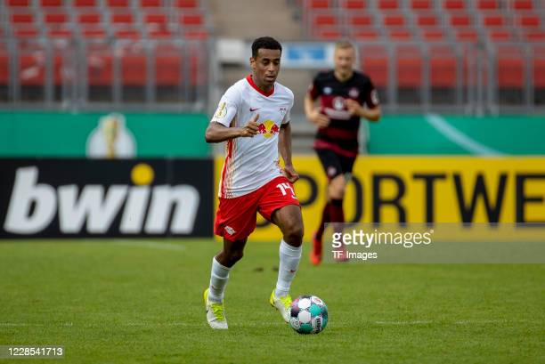 Tyler Adams of RB Leipzig during the DFB Cup first round match between 1 FC Nuernberg and RB Leipzig at MaxMorlockStadion on September 12 2020 in...