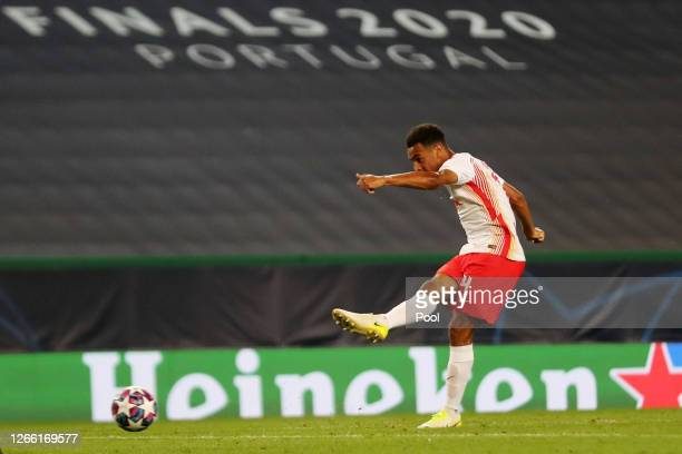 Tyler Adams of RB Leipzig scores his team's second goal during the UEFA Champions League Quarter Final match between RB Leipzig and Club Atletico de...