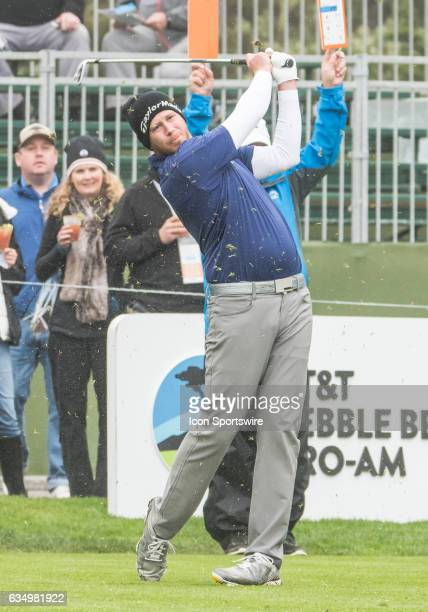 Tyler Aldridge follows through his tee off at the 5th hole during the second round of the ATT Pebble Beach ProAm in Pebble Beach CA on Friday...