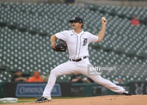 Tyler Alexander of the Detroit Tigers pitches during the first inning of the game against the Chicago White Sox at Comerica Park on September 21,...