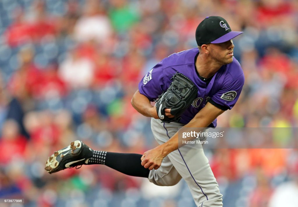 Tyler Anderson #44 of the Colorado Rockies delivers a pitch in the second inning during a game against the Philadelphia Phillies at Citizens Bank Park on June 13, 2018 in Philadelphia, Pennsylvania. The Rockies won 7-2.
