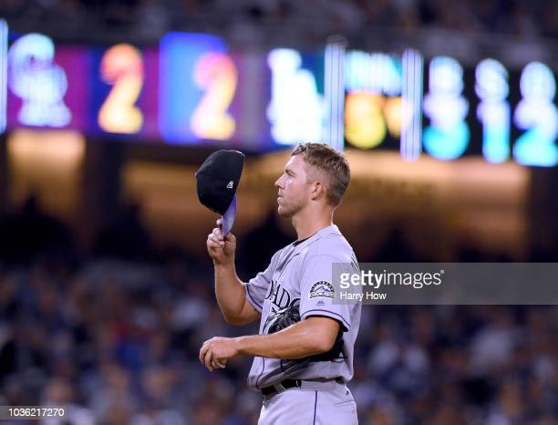 Tyler Anderson of the Colorado Rockies on the mound during the fifth inning against the Los Angeles Dodgers at Dodger Stadium on September 19 2018 in...