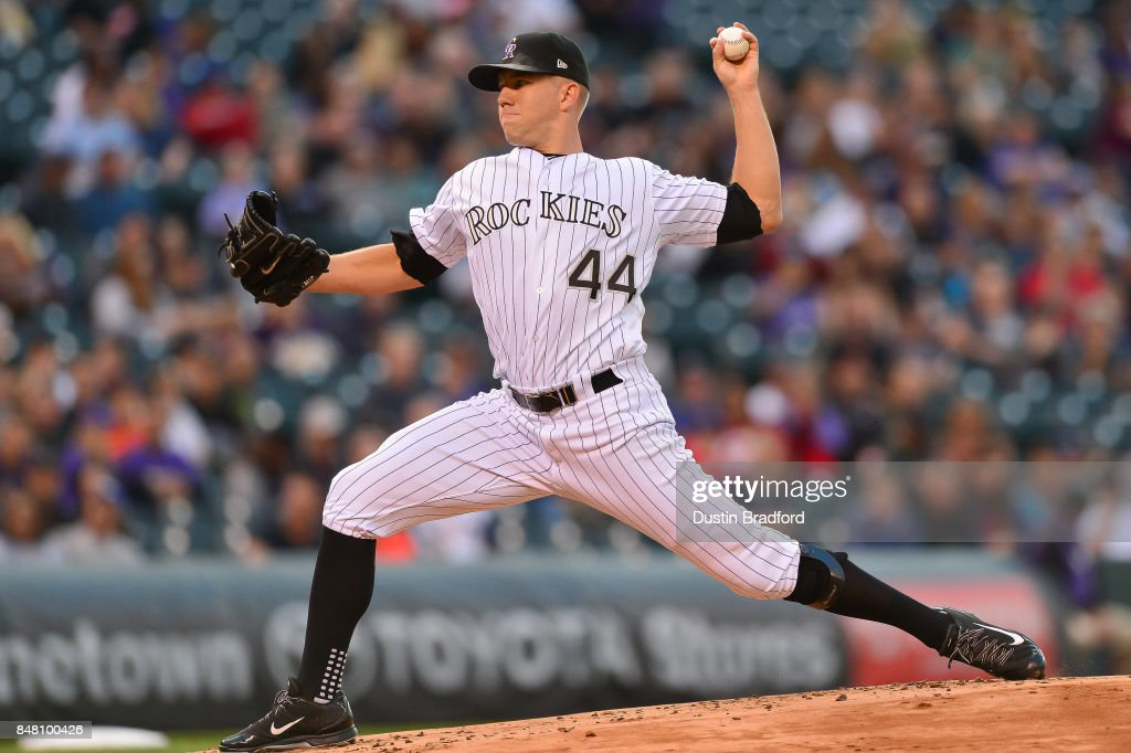 Tyler Anderson #44 of the Colorado Rockies pitches against the San Diego Padres in the second inning of a game at Coors Field on September 16, 2017 in Denver, Colorado.