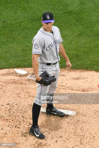 Tyler Anderson of the Colorado Rockies pitches during a baseball game against the Washington Nationals at Nationals Park on April 15 2018 in...