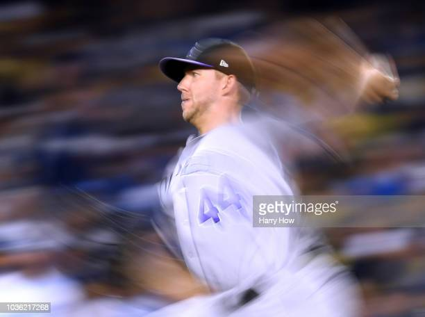 Tyler Anderson of the Colorado Rockies pitches during the fifth inning against the Los Angeles Dodgers at Dodger Stadium on September 19 2018 in Los...
