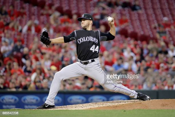 Tyler Anderson of the Colorado Rockies throws a pitch against the Cincinnati Reds at Great American Ball Park on May 19 2017 in Cincinnati Ohio