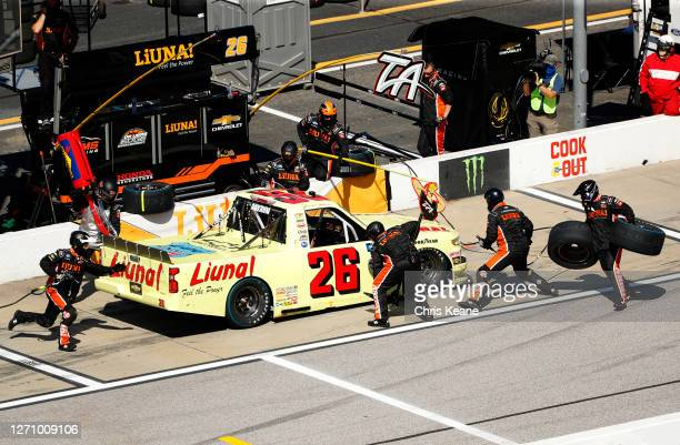Tyler Ankrum, driver of the LiUNA! Chevrolet, pits during the NASCAR Gander Outdoors Truck Series South Carolina Education Lottery 200 at Darlington...
