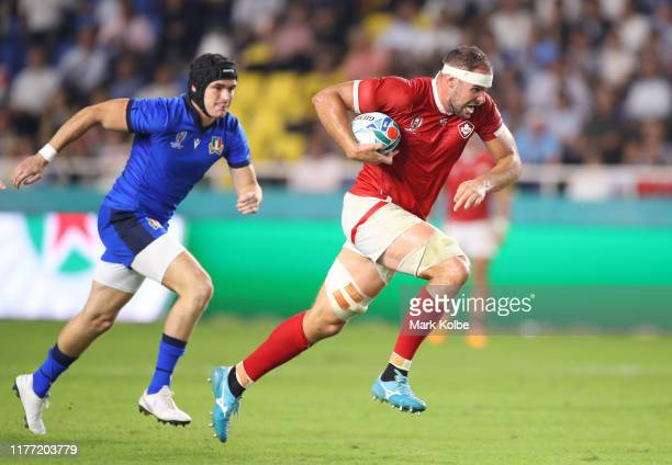 Tyler Ardron of Canada runs with the ball during the Rugby World Cup 2019 Group B game between Italy and Canada at Fukuoka Hakatanomori Stadium on...