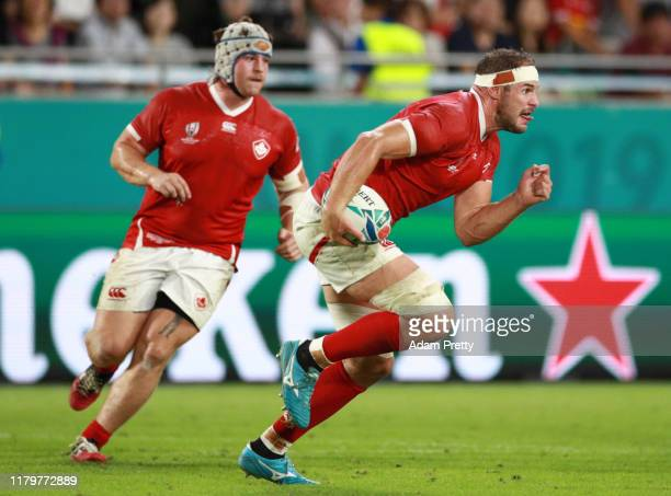 Tyler Ardron of Canada runs with the ball during the Rugby World Cup 2019 Group B game between South Africa and Canada at Kobe Misaki Stadium on...