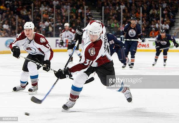 Tyler Arnason of the Colorado Avalanche shoots the puck during their NHL game against the Edmonton Oilers on November 15 2008 at Rexall Place in...