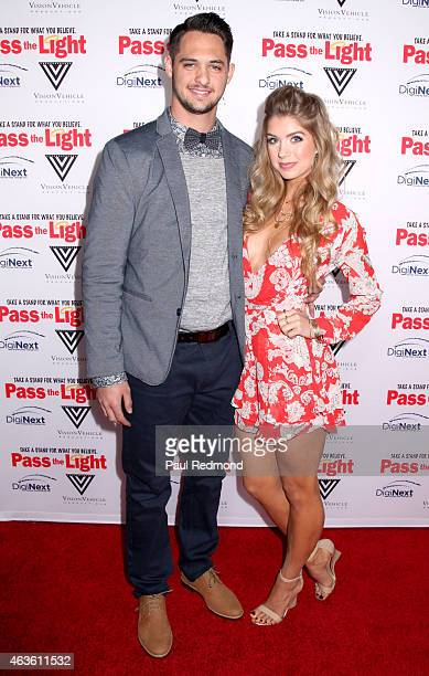 Tyler Beede and Allie DeBerry arriving at the premiere of 'Pass The Light' at ArcLight Cinemas on February 2 2015 in Hollywood California