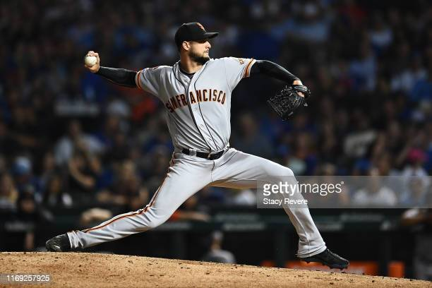 Tyler Beede of the San Francisco Giants throws a pitch during the fourth inning against the Chicago Cubs at Wrigley Field on August 20 2019 in...