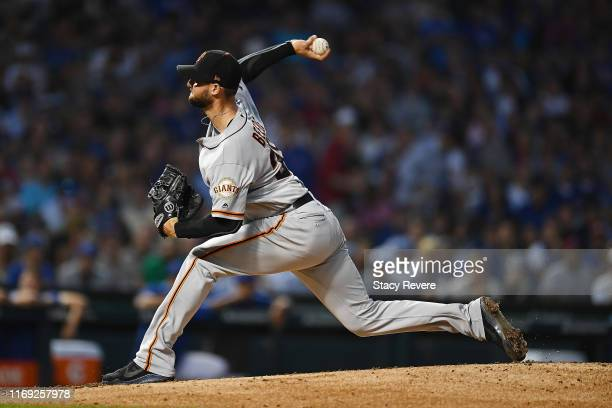 Tyler Beede of the San Francisco Giants throws a pitch during the second inning against the Chicago Cubs at Wrigley Field on August 20 2019 in...