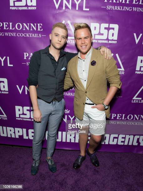 Tyler Bendickson and Andrew Werner attend the Purple Squirrel Agency Launch Party on August 29 2018 in New York City