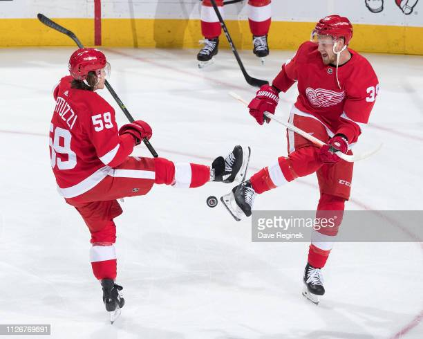 Tyler Bertuzzi and Anthony Mantha of the Detroit Red Wings toss the puck around during warmups prior to an NHL game against the Minnesota Wild at...
