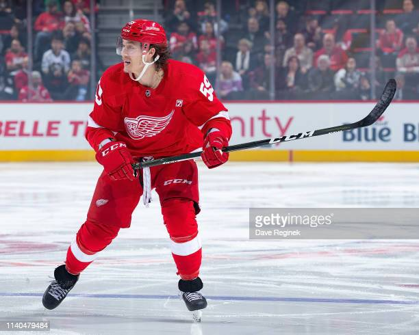 Tyler Bertuzzi of the Detroit Red Wings skates up ice against the Pittsburgh Penguins during an NHL game at Little Caesars Arena on April 2, 2019 in...