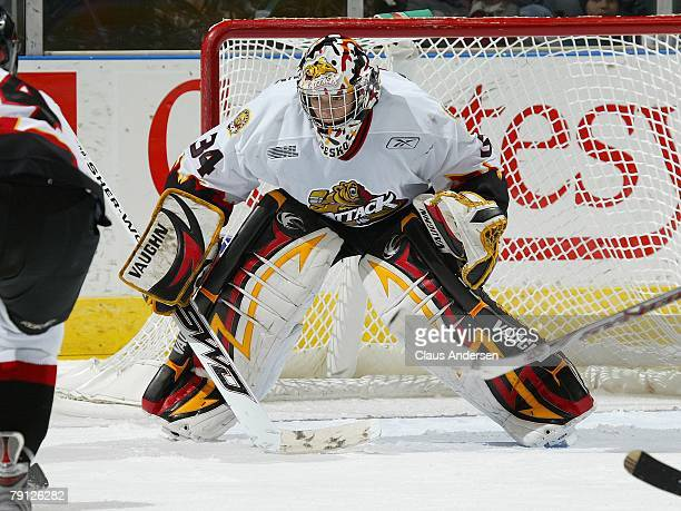 Tyler Beskorowany of the Owen Sound Attack gets set to stop a shot in a game against the London Knights on January 18 2008 at the John Labatt Centre...