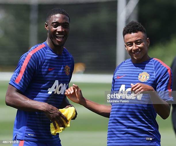 Tyler Blackett and Jesse Lingard of Manchester United in action during a first team training session as part of their pre-season tour of the USA at...