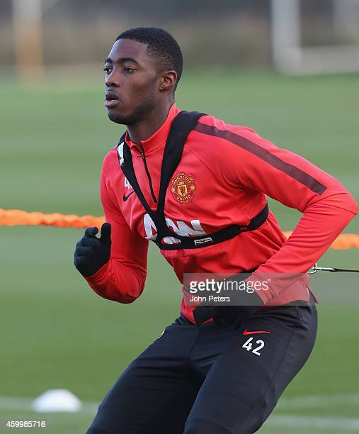 Tyler Blackett of Manchester United in action during a first team training session at Aon Training Complex on December 5, 2014 in Manchester, England.