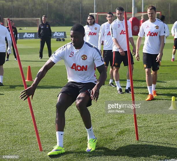 Tyler Blackett of Manchester United in action during a first team training session at Aon Training Complex on April 24, 2015 in Manchester, England.