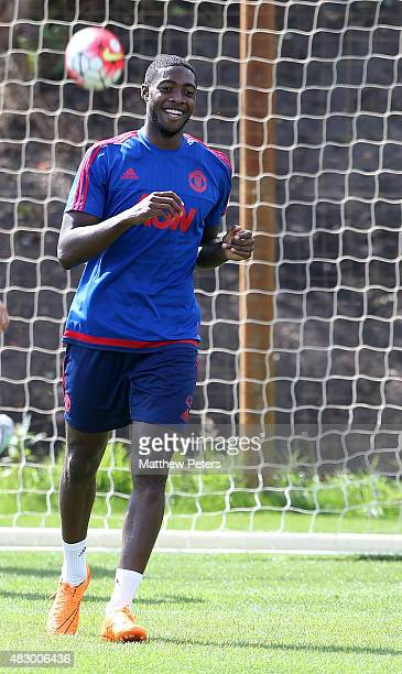 Tyler Blackett of Manchester United in action during a first team training session at Aon Training Complex on August 5, 2015 in Manchester, England.