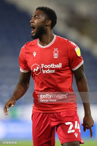 Tyler Blackett of Nottingham Forest gives his team instructions during the Sky Bet Championship match between Huddersfield Town and Nottingham Forest...