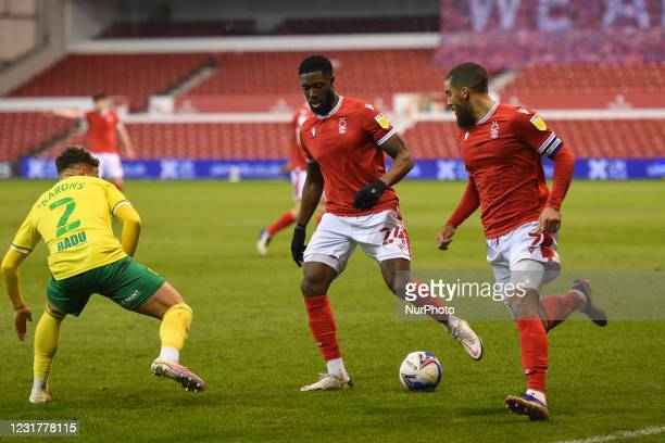 Tyler Blackett of Nottingham Forest prepares to pass to Lewis Grabban of Nottingham Forest during the Sky Bet Championship match between Nottingham...