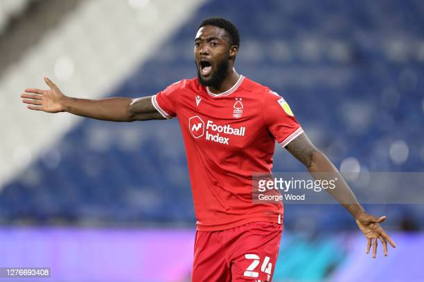 Tyler Blackett of Nottingham Forest reacts during the Sky Bet Championship match between Huddersfield Town and Nottingham Forest at John Smith's...