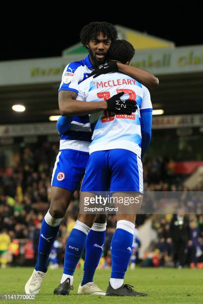 Tyler Blackett of Reading and Garath McCleary of Reading embrace after the Sky Bet Championship match between Norwich City and Reading at Carrow Road...