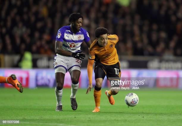 Tyler Blackett of Reading and Helder Costa of Wolverhampton Wanderers during the Sky Bet Championship match between Wolverhampton Wanderers and...
