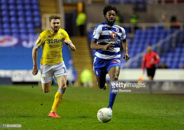 Tyler Blackett of Reading battles for possession with Stuart Dallas of Leeds United during the Sky Bet Championship match between Reading and Leeds...