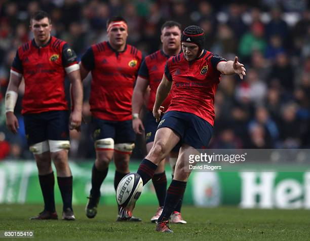 Tyler Bleyendaal of Munster kicks the ball upfield during the European Rugby Champions Cup match between Leicester Tigers and Munster at Welford Road...