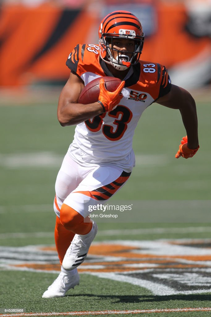 Tyler Boyd #83 of the Cincinnati Bengals runs with the ball during the third quarter of the game against the Baltimore Ravens at Paul Brown Stadium on September 10, 2017 in Cincinnati, Ohio.