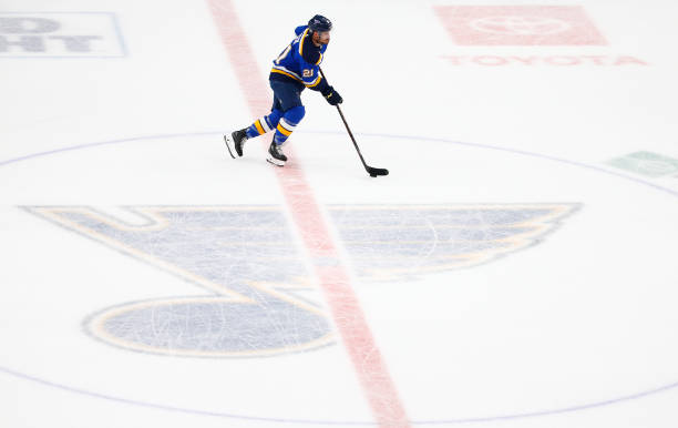 Tyler Bozak of the St. Louis Blues handles the puck against the Boston Bruins during the first period in Game Three of the 2019 NHL Stanley Cup Final...