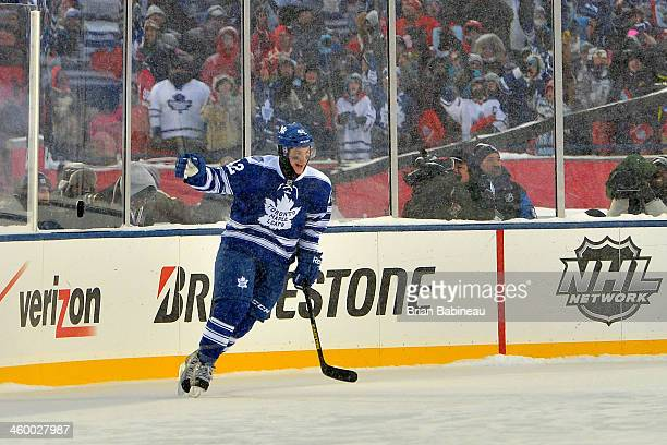 Tyler Bozak of the Toronto Maple Leafs celebrates after scoring on goaltender Jimmy Howard of the Detroit Red Wings during shootout overtime of the...